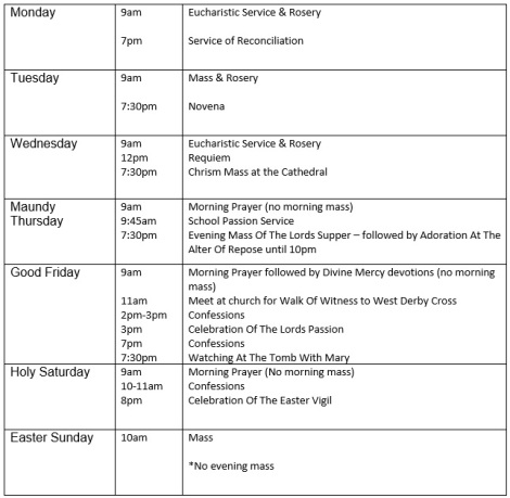 Holy Week Diary 2013